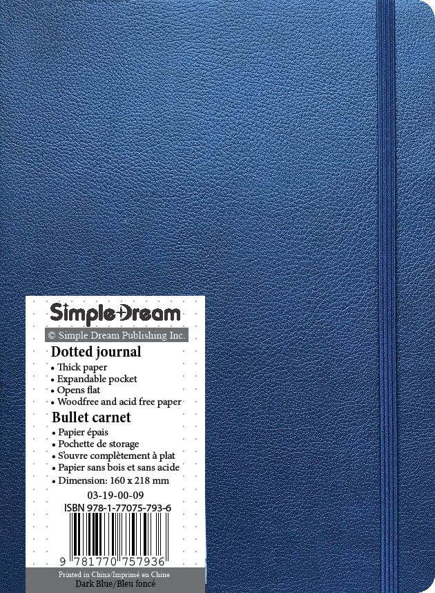 Faux Leather Dotted Journal - Dark Blue