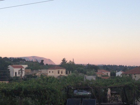 View from the balcony: sunset over the village