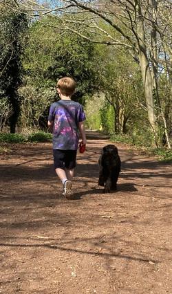 Bil (Y3) walking the dog
