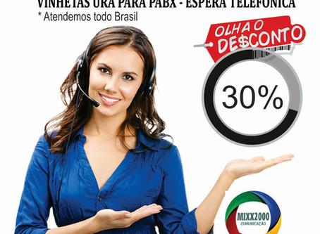 2020 Chegou!!! Renove as Gravações de sua Espera Telefônica (ura - pabx) Descontaço de 30% Aproveite