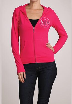 Pink Monogram Zip-Up hoodie