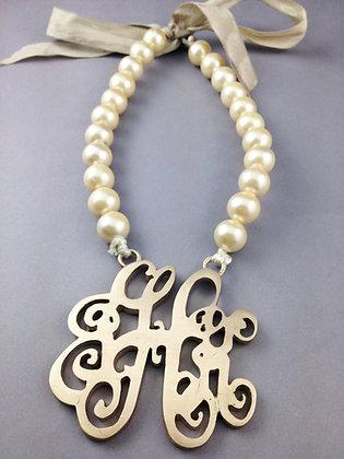Cast Metal Monogram Necklace