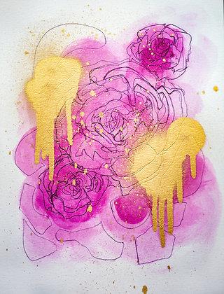 Mixed Media Study Dripping Roses