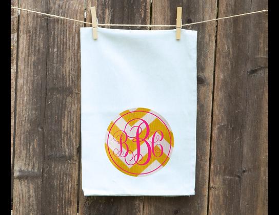 Yellow Chevron Monogram Decorative Kitchen Towel