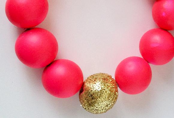 Neon Pink + Glitter statement necklace