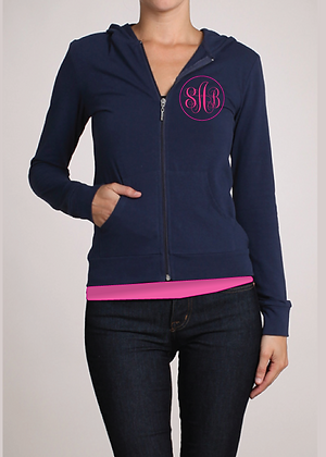 Navy Monogram Zip-Up Hoodie