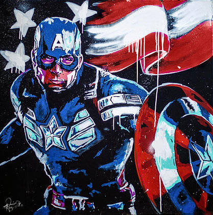 Captain America Speedpainting 16 x 20 inches