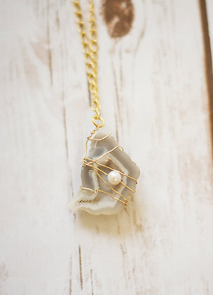 Smokey Geode Rock and Pearl Necklace