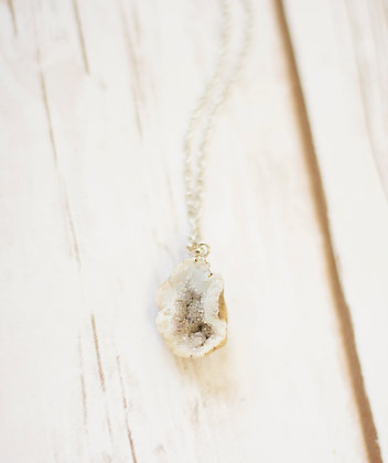 White Geode Rock Necklace