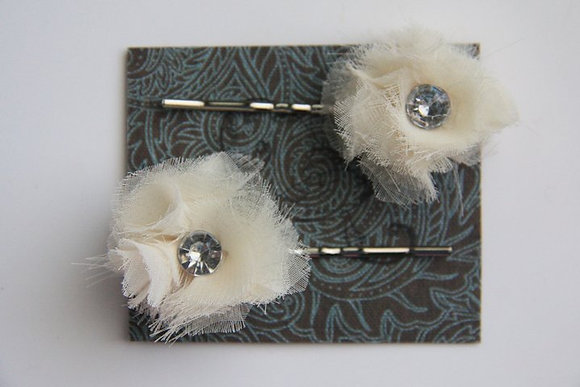 Fabric Flower Hair Pin Set