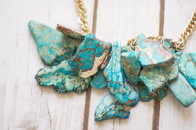 Splatter Turquoise Statement Necklace