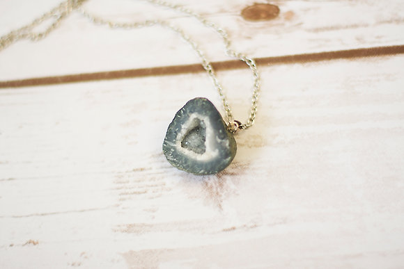 Charcoal Geode Rock Necklace