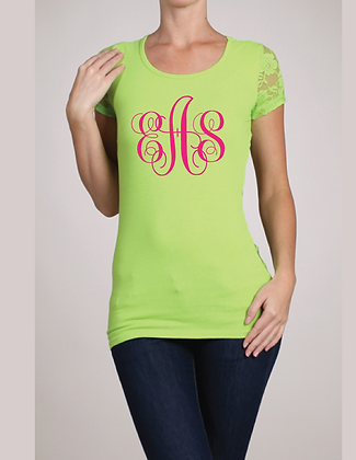 Lime & Lace Monogram top