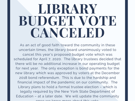 BBP Library Budget Vote Announcement