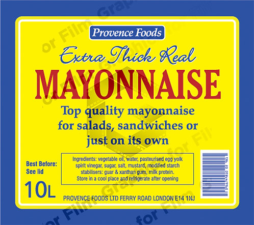 Industrial Mayonnaise Can Label
