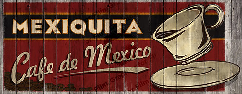 Hand painted style Mexican coffee sign with texture