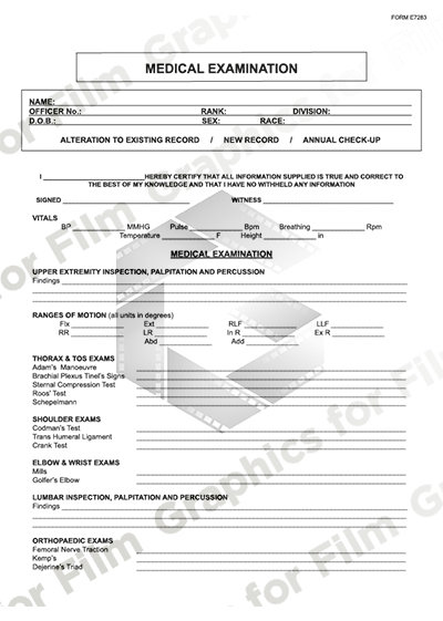 Police forms - medical examination - 3 pages
