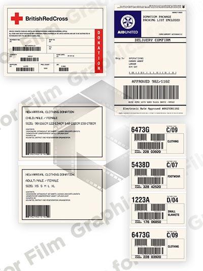 4 Aid / Care / Humanitarian donation box labels