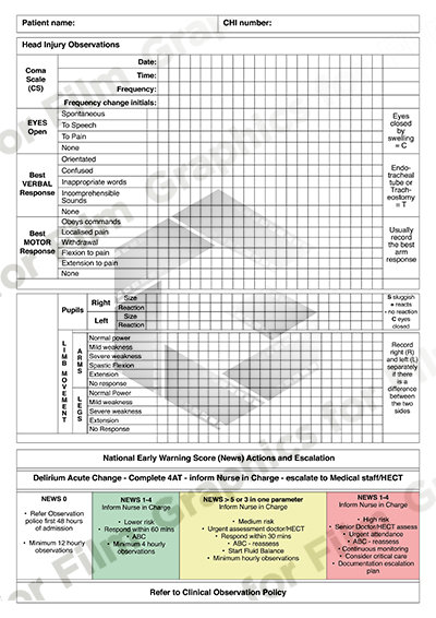 Head injury patient chart
