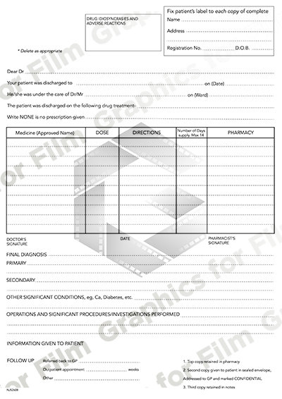 Hospital paper work - diagnosis / discharge form