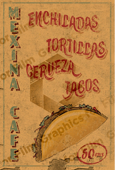 Hand painted style Mexican sign with texture