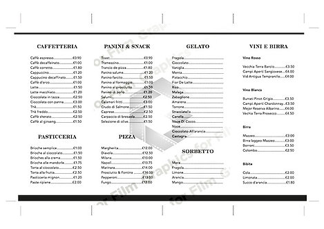 Italian Cafe Menu (Double Sided)
