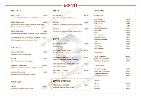 Italian Cafe Menu (Single Sided)