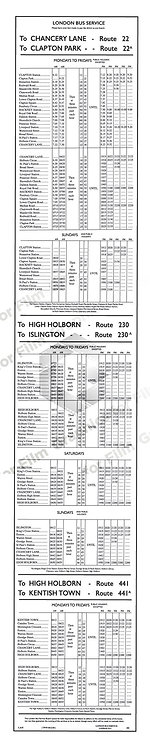 London Bus timetable - early to mid century
