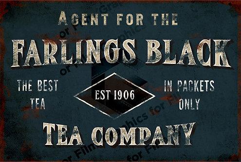 Metal style tea sign