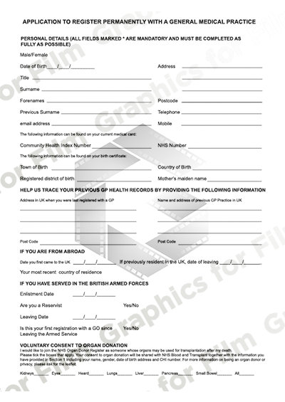 Patient registration form for GP