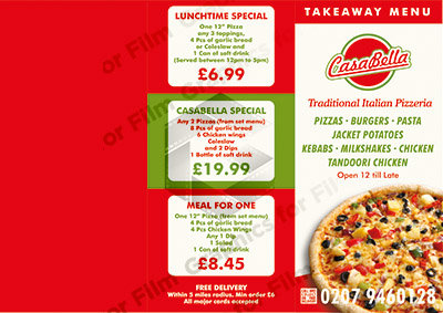 Pizza Menu 3 way leaflet - Outside only