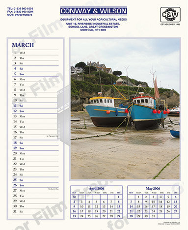 Calendar with fishing boat image