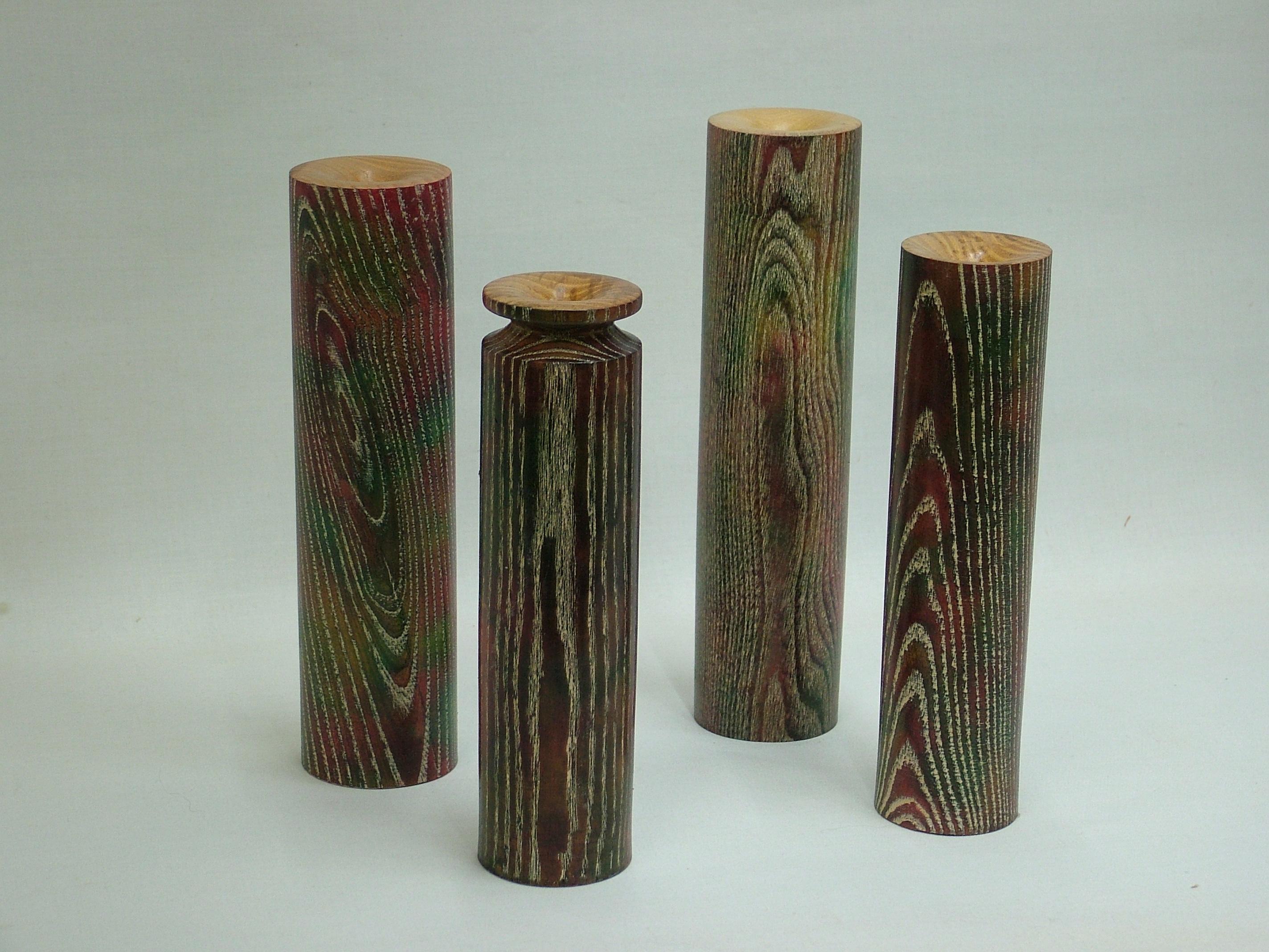 ash vases, spirit stain