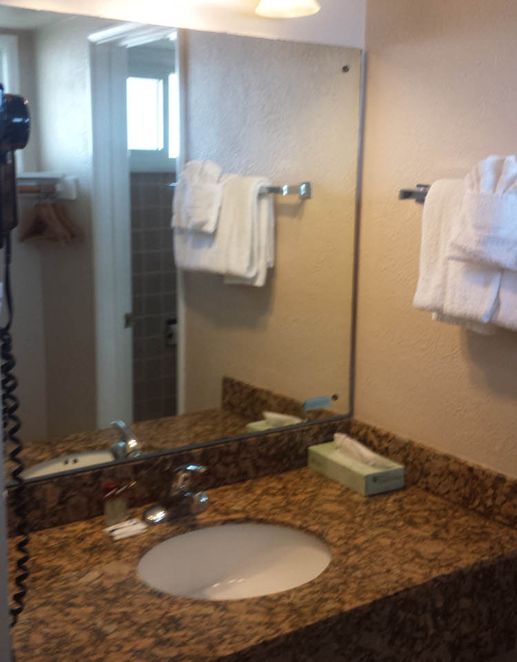 vanity with hair dryer
