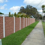 SimTek Stone Wall With White Fence Post