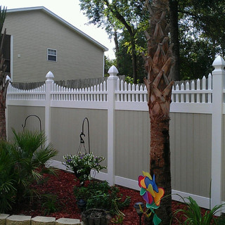 Privacy with Concave Picket Accent and Gothic Caps