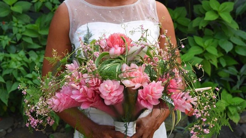 Tropical Cascading Bridal Bouquet