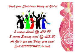 Book your Xmas meal at Gios