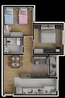 2 Dormitórios - 44m²