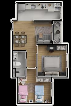 2 Dormitórios - 46m²