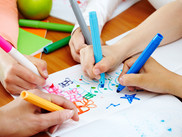 Kids Drawing Colorfullly With Markers