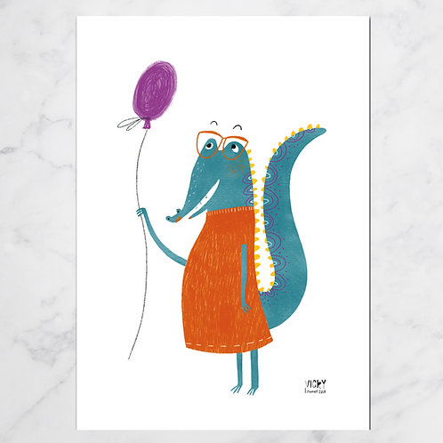 MISS CROCODILIA BALLOON PRINT