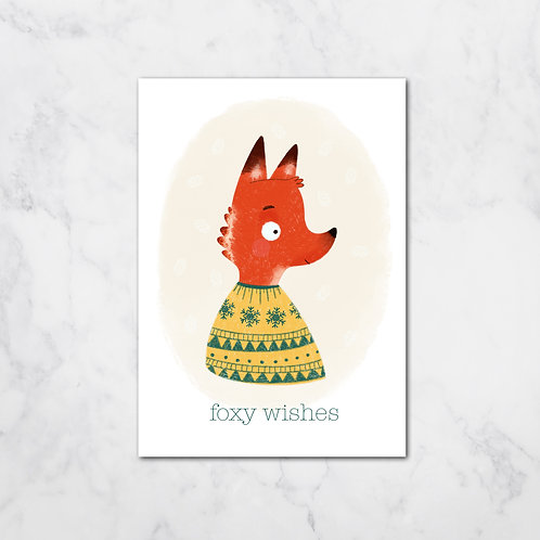 FOXY WISHES XMAS CARD