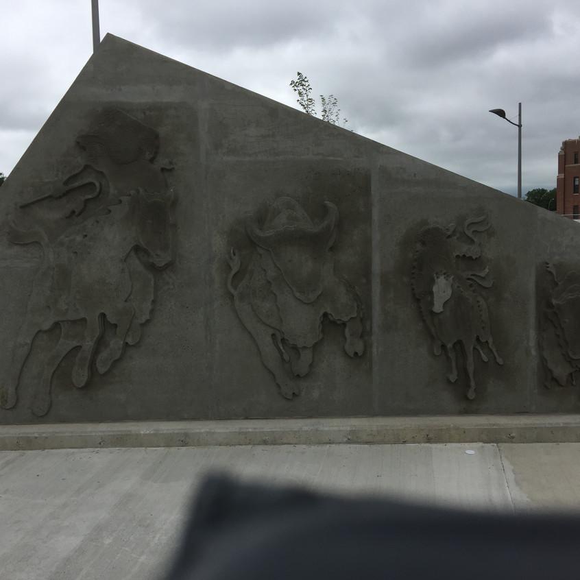 Plaque outside Mosaic stadium Regina