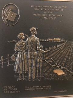 Plaque Honouring Mennonite settlers