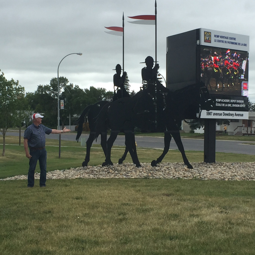 Jim at the entrance to the RCMP depo