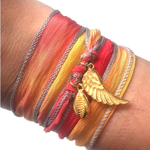 Fire Silk Wrap Bracelet