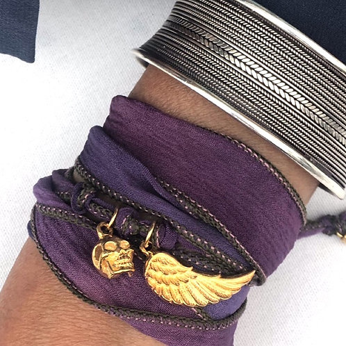 Purple Silk Wrap Bracelet