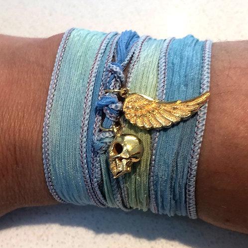 Blue Silk Wrap Bracelet