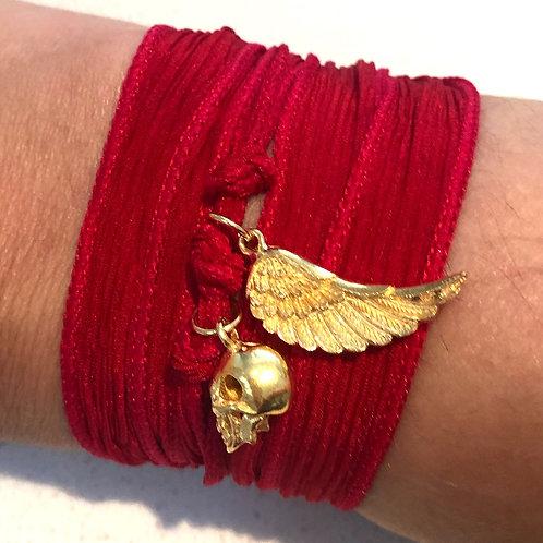 Red Silk Wrap Bracelet